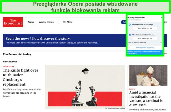 Zrzut ekranu przedstawiający wbudowany bloker reklam przeglądarki Opera, który usuwa reklamy ze strony TechCrunch