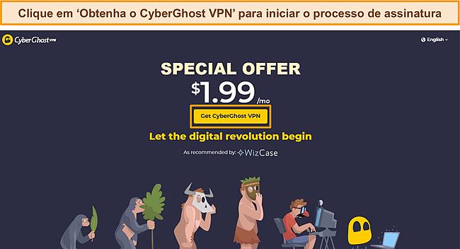 Captura de tela da página de negociação do WizCase da CyberGhost com.
