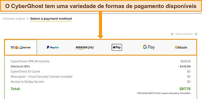 Captura de tela dos métodos de pagamento da CyberGhost.