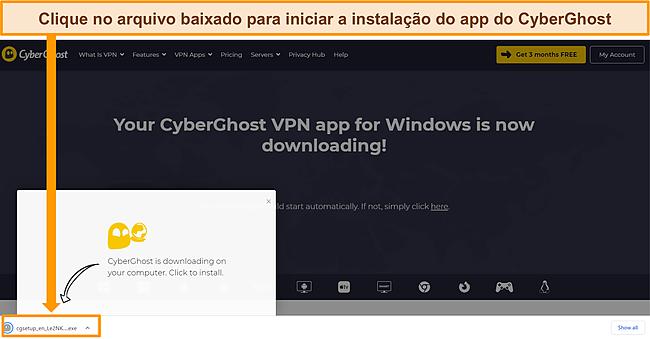 Captura de tela do download do aplicativo CyberGhost em um dispositivo Windows.