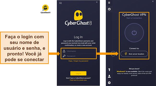 Captura de tela do aplicativo do Windows da CyberGhost com a seção de nome de usuário e senha em destaque.