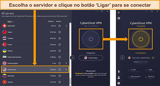 Capturas de tela do menu do servidor do CyberGhost detalhando como se conectar a um servidor dos EUA.