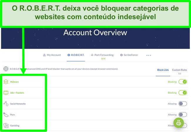 Captura de tela da página de configurações do Winscribe exibindo opções para bloquear anúncios, malware e categorias de sites