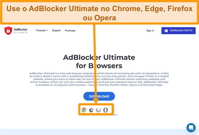 Captura de tela do site AdBlocker Ultimate exibindo as 4 extensões de navegador disponíveis