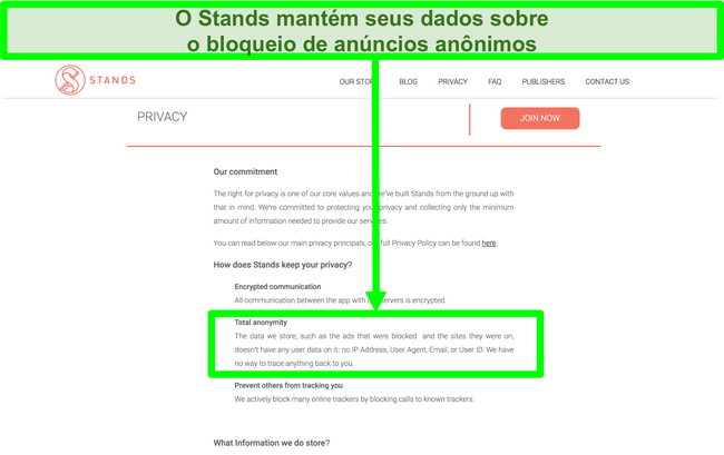 Captura de tela do site Stands informando que os dados que possui sobre anúncios bloqueados nunca estão vinculados às informações pessoais dos usuários