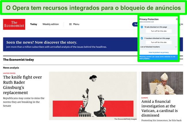 Captura de tela do bloqueador de anúncios embutido do Opera Brower removendo anúncios do site TechCrunch