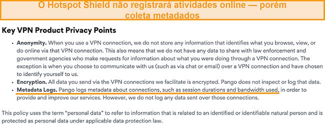 Captura de tela da política de privacidade do Hotspot Shields