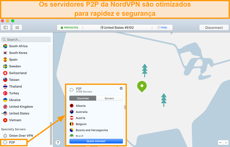 Captura de tela dos servidores P2P do NordVPN no aplicativo Mac