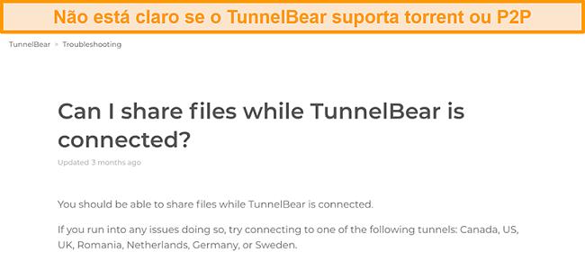Captura de tela da página de solução de problemas do TunnelBear sobre compartilhamento de arquivos