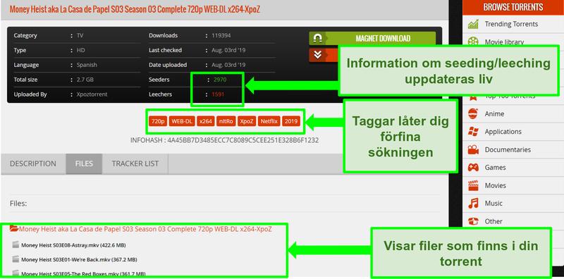 Skärmdump av 1337xTorrents nedladdningssida