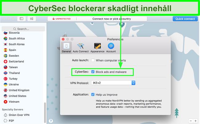 Skärmdump som visar funktionen för blockering av annonser och skadlig programvara för NordVPN engagerad