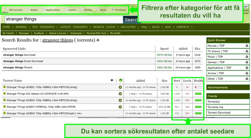 Skärmdump av söksidan för Limetorrents