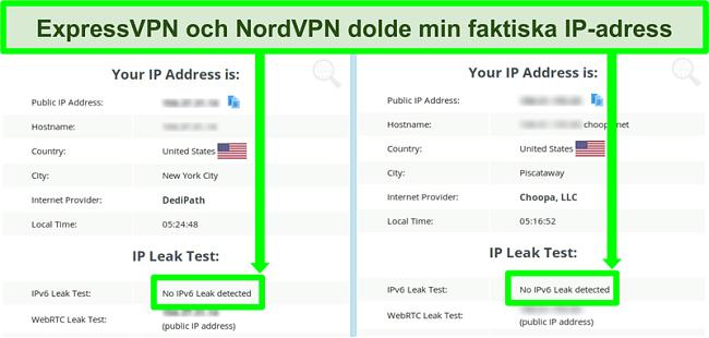 Skärmdump som visar ingen IPv6-läcka upptäckt för både NordVPN och ExpressVPN