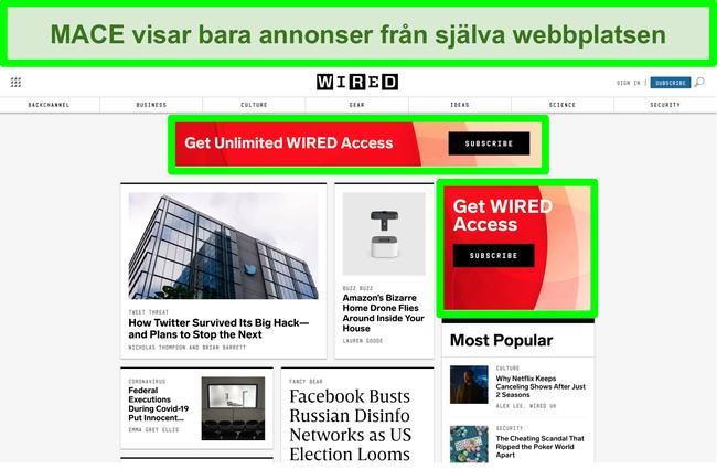 Skärmdump av MACE som blockerar de flesta annonser på Wired-webbplatsen