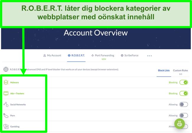 Skärmdump av Winscribe-inställningssidan som visar alternativ för att blockera annonser, skadlig programvara och kategorier av webbplatser
