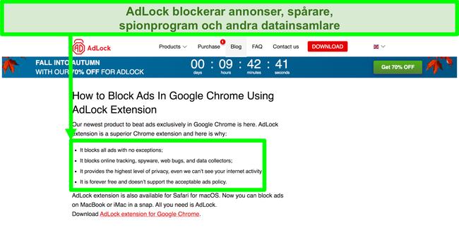 Skärmdump av AdLocks webbplats som anger att den inte har någon