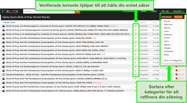 Skärmdump av falska länkar på TorLock