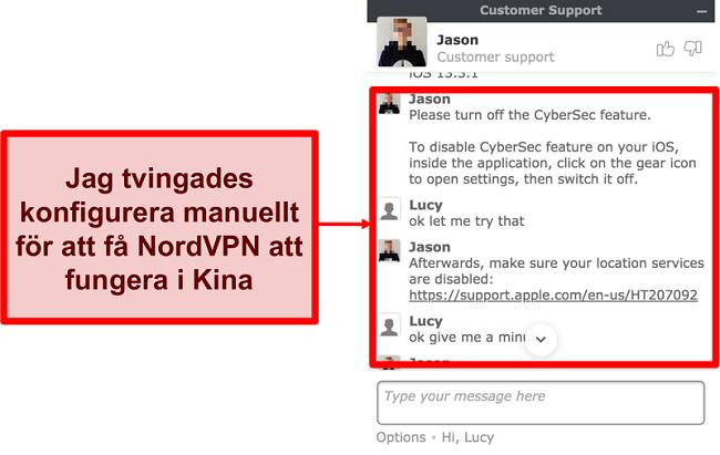 Skärmdump av chatt med NordVPN som ber om råd om hur du får appen att fungera i Kina