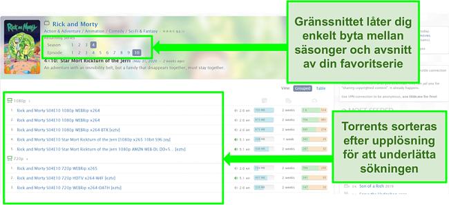 Skärmdump av Zooqles målsida