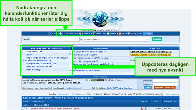 Skärmdump av EZTV-målsidan