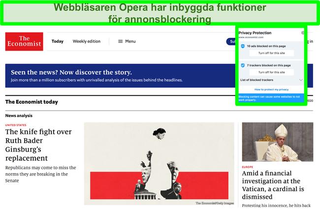 Skärmdump av Opera Browers inbyggda annonsblockerare som tar bort annonser från TechCrunch-webbplatsen