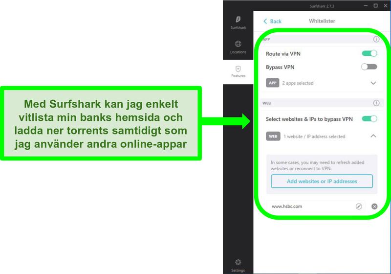 Skärmdump av Surfsharks app- och URL-vitlistfilter
