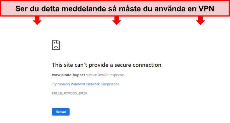 Skärmdump av felmeddelande när du försöker komma åt Pirate Bay utan VPN