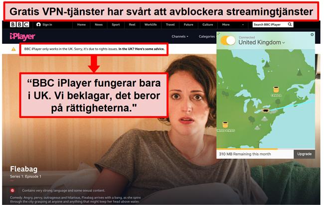 Skärmdump av TunnelBear ansluten till en brittisk server och kan inte komma åt BBC iPlayer