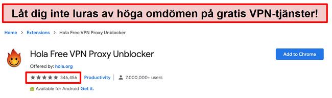 Skärmdump av Hola Free VPN Proxy Unblocker i Google Chrome-tilläggsbutiken