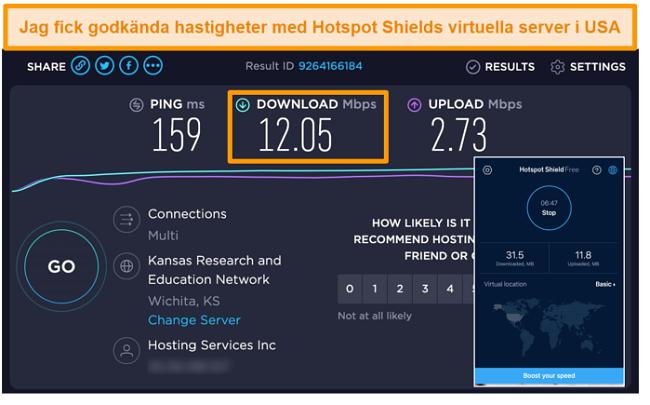 Skärmdump av Hotspot Shields gratisversion på Mac ansluten till en amerikansk server med hastighetstestresultat