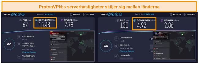 Skärmdump av ProtonVPN ansluten till Nederländerna och USA med hastighetstestresultat