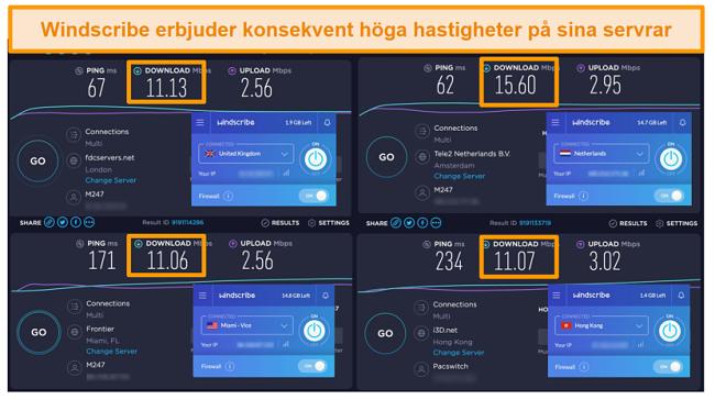 Skärmdump av hastighetstestresultat för Windscribe VPN och dess servrar i Storbritannien, Nederländerna, USA och Hong Kong