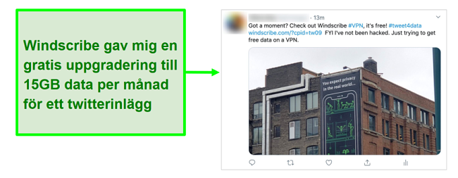 Skärmdump av Twitter-inlägg som främjar Windscribe VPN i utbyte mot 15 GB gratis data varje månad