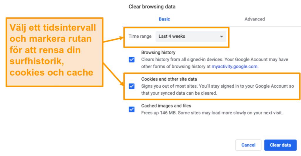Skärmdump för att rensa cache och webbhistorik i Google Chrome