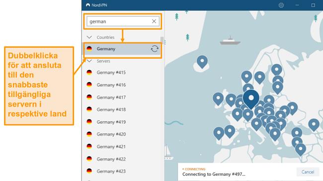 Skärmdump av NordVPN Tysklands serverval