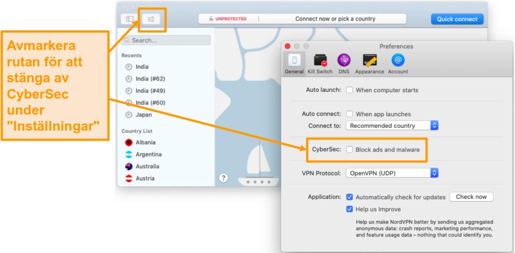 Skärmdump för att inaktivera CyberSec i NordVPN-appen