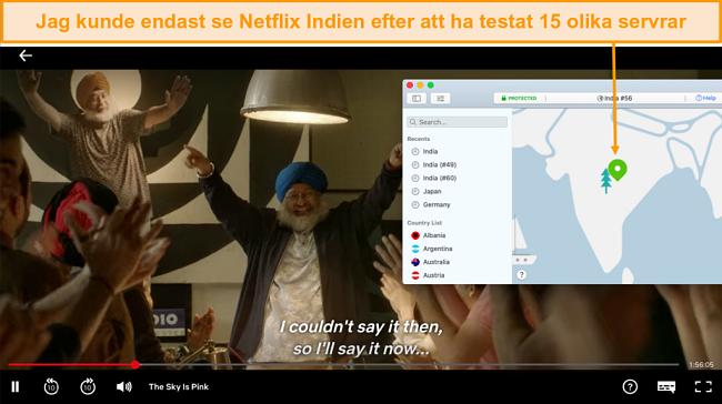 Skärmdump av streaming Netflix Indien med NordVPN