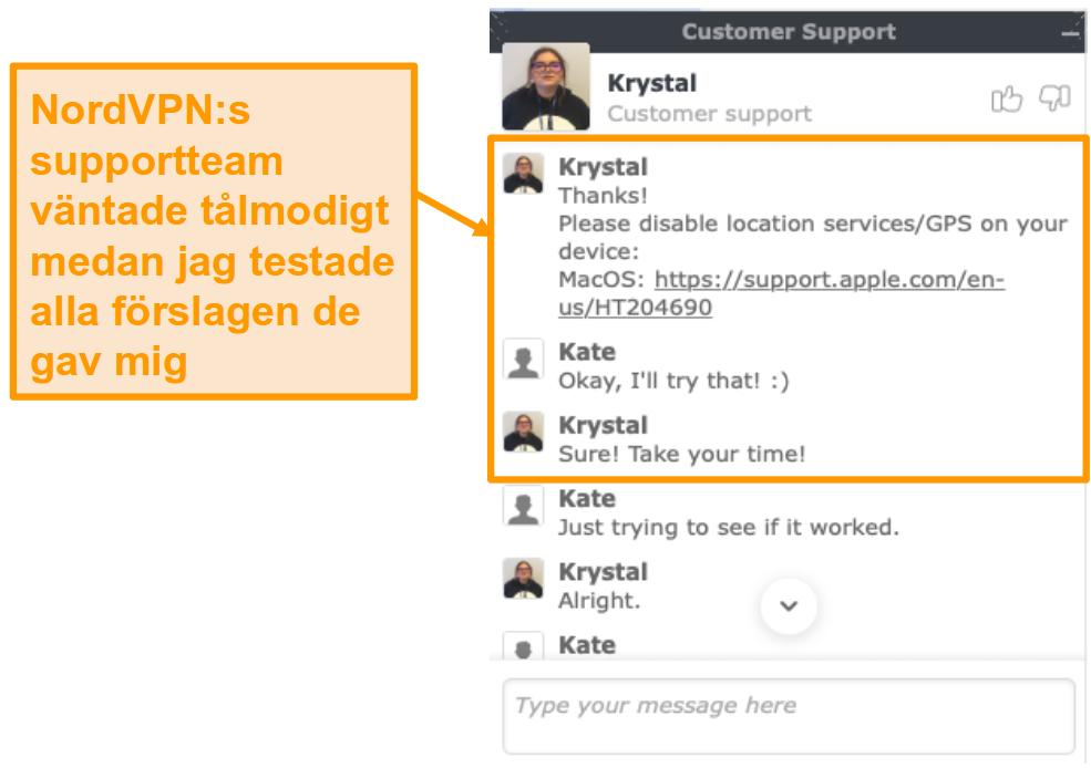 Skärmdump av NordVPN kundsupport livechattfunktion