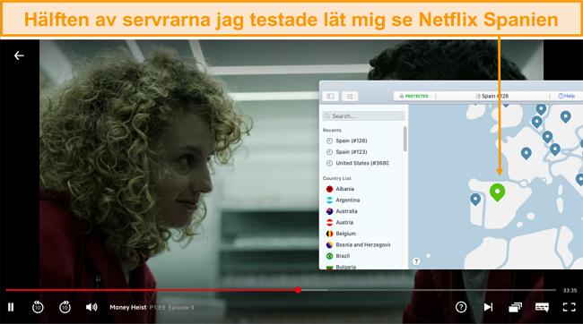 Skärmdump av NordVPN som avblockerar Netflix Spanien