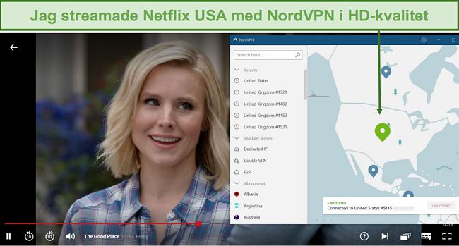 Skärmdump av The Good Place-streaming på Netflix med NordVPN ansluten till en amerikansk server