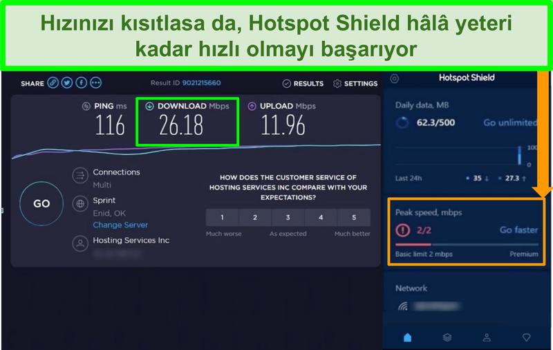 Hotspot Shield arayüzüne bağlıyken hız testi sonuçlarının ekran görüntüsü