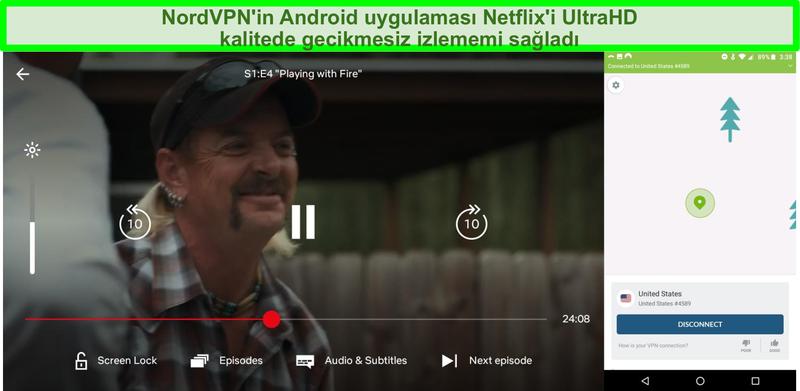 NordVPN Android arayüzü ve bir ABD sunucusuna bağlıyken Tiger King oynayan Netflix'in ekran görüntüsü