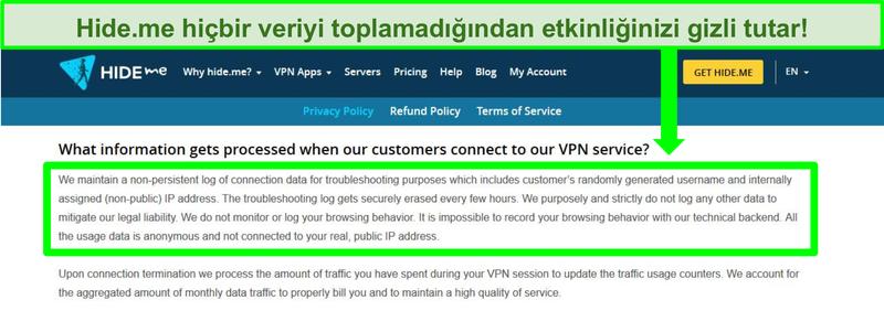 Hide.me gizlilik politikasının hiçbir veri günlüğünün tutulmadığını gösteren ekran görüntüsü