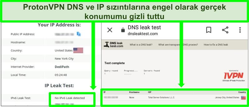 ProtonVPN'e bağlıyken hiçbir IP adresi sızıntısı göstermeyen bir DNS ve IP adresi sızıntı testinin ekran görüntüsü