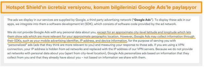 Hotspot Shield'ın Google Ads gizlilik politikasının ekran görüntüsü