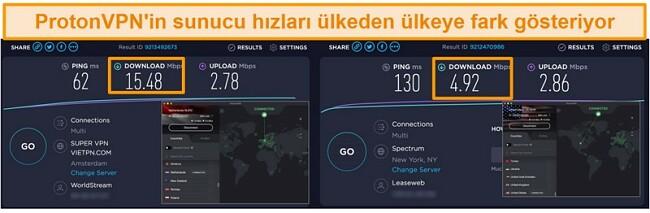 Hız testi sonuçlarıyla Hollanda ve ABD'ye bağlı ProtonVPN'in ekran görüntüsü