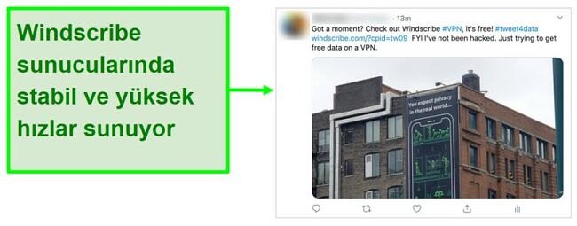 Her ay 15 GB ücretsiz veri karşılığında Windscribe VPN'i tanıtan Twitter gönderisinin ekran görüntüsü