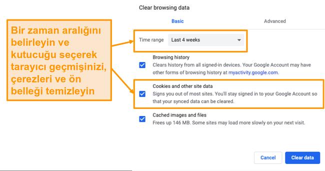 Google Chrome'da önbelleği ve göz atma geçmişini temizleme ekran görüntüsü