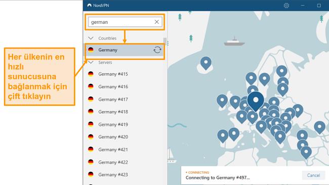 NordVPN Almanya sunucu seçiminin ekran görüntüsü
