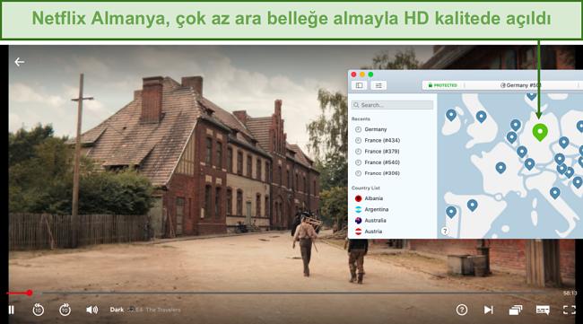 Dar oynarken Netflix Almanya'nın engelini kaldıran NordVPN'in ekran görüntüsü